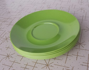 Melmac Green Small Plates Texas Ware Saucers Six Apple Green Vintage Melamine Plastic Dinnerware