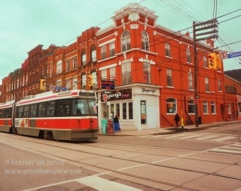 Toronto Street Life Photography - Wall Decor - Fine Art Photography Print - Canada, Red, Brick Building, Streetcar, TTC