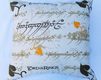 Lord of The Rings LOTR Elvish Vintage Fabric Cushion - handmade by Alien Couture