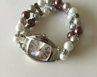 Pearls... Womens Watch, Womens Interchangeable Watch, Womens Double Stranded Watch, Womens Beaded Watch, Set (306)