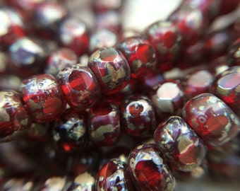 Garnet and picasso trica beads, 4x3mm  red garnet czech beads