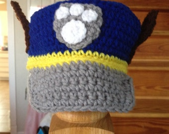 Crocheted toddler paw patrol Chase Inspired Hat