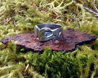 Eagle ring, Alaskan Eagle ring, Silver Eagle ring, Totemic Eagle ring, NWC Style Eagle ring, Native Style Eagle ring, Made In Alaska
