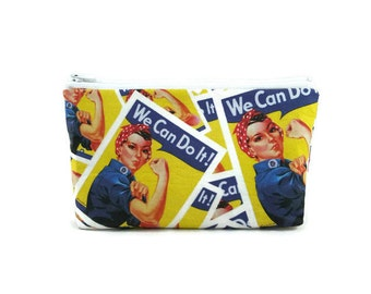 Rosie the Riveter Makeup Bag, Tampon Case, Zippered Cosmetic Bag, We can Do It Zippered Pouch, Toiletry Bag,  Purse Organizer, Glam Bag