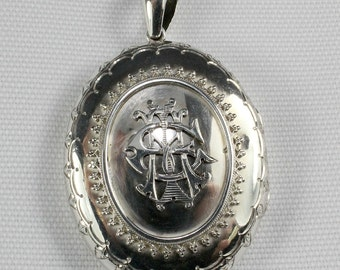 Victorian Sterling Silver Large Oval Locket