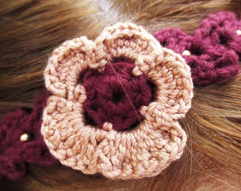Pretty Pansy Crocheted Headband