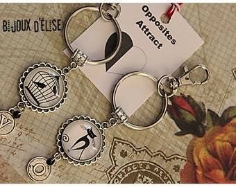 Personalized Black And White Cat Bird Keychains Oposites Attract Best Friends Keychain His and Hers Couple Keychain