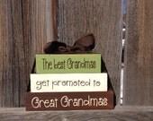 Grandma/Mothers day Mini wood blocks-The best Grandmas get promoted to Great Grandmas