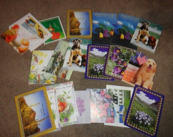 20 hello, friends, thinking of you, cards Lot of vintage cards