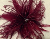 Handmade Red Wine burgundy ostrich feather hair accessory clip fascinator derby bridal