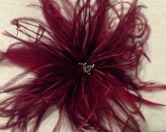 Handmade Red Wine burgundy ostrich feather hair accessory clip fascinator derby bridal
