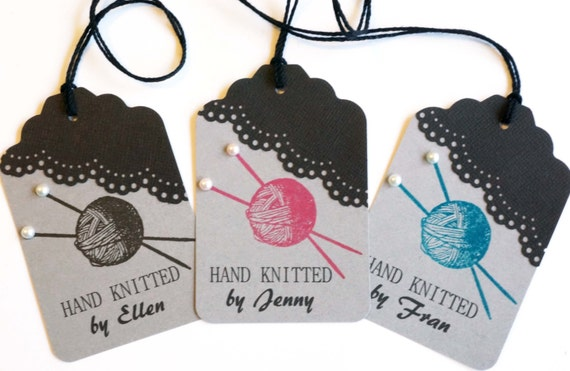Knitting Labels Personalized : Knitting tags personalized by melodysmoments