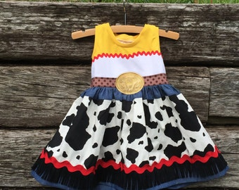 Toy Story Jessie Cowgirl Inspired Blue Ribbon Tank Dress for Girls  Sizes 18m-12yrs.  By Hoot n Hollar Children's Clothing