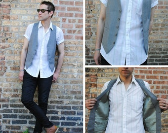 Men's Grey Blue Vest
