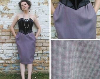 Purple Tweed Pencil Skirt