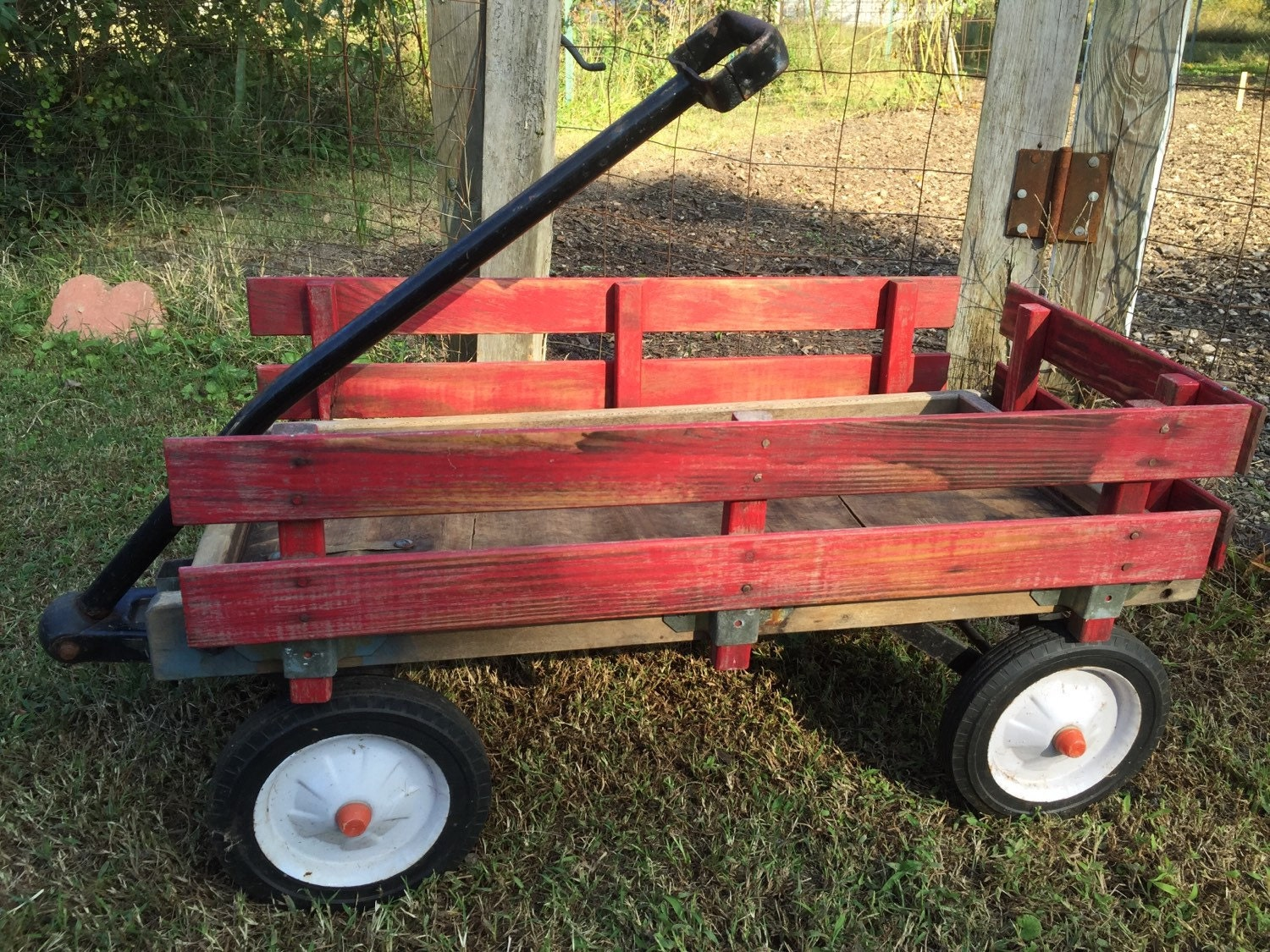 Vintage Wooden Red Wagon Red Wood Toy Wagon Slat Side