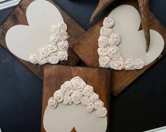 Large Cream Rosette Hearts