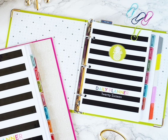2016 Junior Size Daily Planner Printable Pages - Black Stripe Cover - Instant download PDF