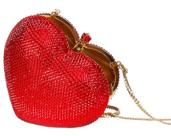 Swarovski crystal Red, Gold Bronze, Pink or Silver Pink Heart shape Metal case box clutch bag - valentine gift!