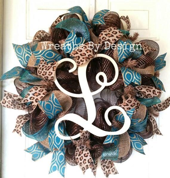 Mesh Door Wreath Monogram Wreath Front Door By