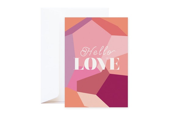Hello Love Greeting Card (including envelope) | Romantic graphic postcard with vibrant red, pink & burgundy colours | Mineral collection