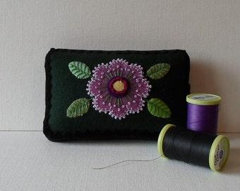 Handmade Mini Needle Cushion Dark Green Felted Wool Lavender Floral Pincushion