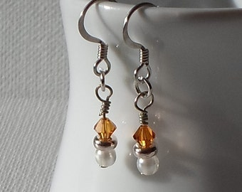 Sale - Hand Made Silver Tone Earrings Gold Swarovski Components & Faux Pearl Beads