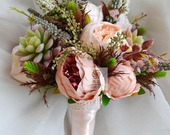 artificial flower wedding bridal bouquet vintage peony sccullent