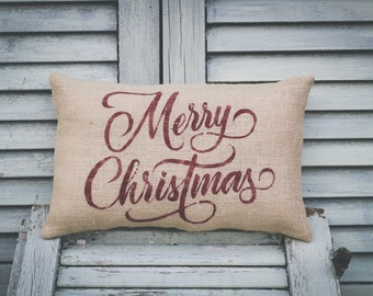Christmas Pillow Decor Pillow Merry Christmas Christmas Pillow burlap pillow 14x9 accent pillow