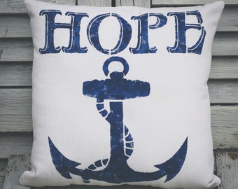 hope pillow, anchor pillow, nautical pillow, burlap pillow, fabric pillow, burlap decor 12x12 pillow