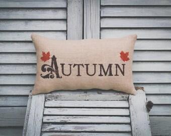 Fall Pillow Autumn Pillow Fall Decor Autumn Leaves Decorative Pillow burlap pillow fabric pillow 14x9 accent pillow