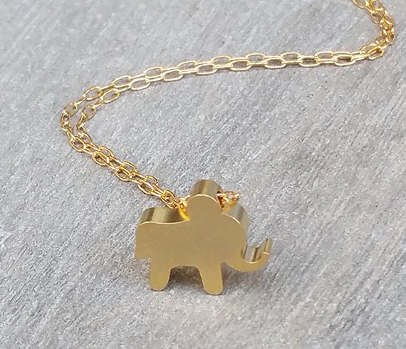 Gold necklace gold elephant necklace lucky necklace gold like this item aloadofball Choice Image