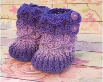READY to SHIP, Crochet Crocodile Stitch Booties, 0-6 months, HollyHock, baby shower