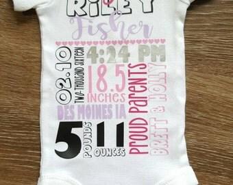 Birth info. Onesie