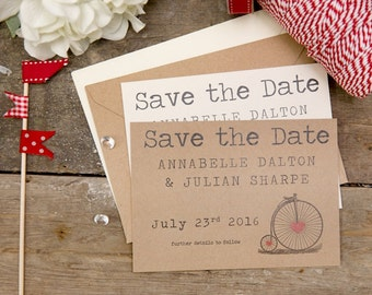 Vintage Bicycle Save The Date Postcards (Red) with Envelopes - Set of 25