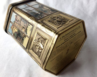 E. Otto Schmidt Lebkuchen Hexagon Tin Box Nurnberg French Windows Views Empty Container Germany