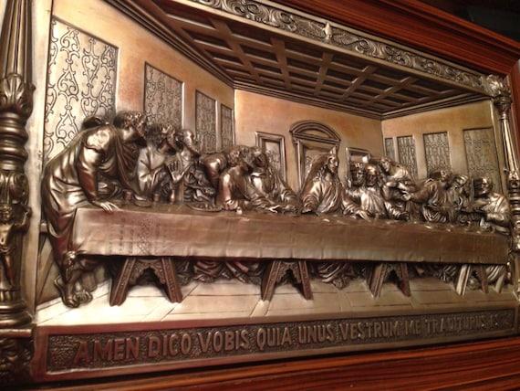 metal art hi relief the last supper wall plaque embossed huge. Black Bedroom Furniture Sets. Home Design Ideas