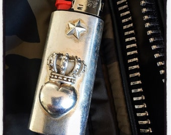 Sterling Silver Heart Lighter Case Bic Lighter Case Custom Lighter Case Handmade Lighter Case Bic Lighter Gas Lighter Skull Lighter Case