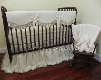 Baby Girl Crib Bedding Set Giselle Ivory - Ivory Baby Bedding, Cream Crib Bedding, Bumperless Crib Bedding, Crib Rail Cover
