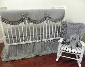 Baby Crib Bedding Set Giselle Gray - Neutral Crib Bedding, Gray Baby Bedding, Gray Crib Bedding, Bumperless Crib Bedding, Crib Rail Cover
