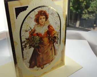 Stunning 1970s vintage christmas cards, gilt and embossed