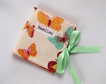 Needlecase with Pastel Colour Butterfly Cotton Print Fabric