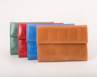 Color Leather Wallets, Gifts under 70, Slim Wallets, great packging gifts, handcrafted wallets, trifold and pocket wallets, teens coin purse