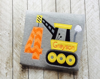 Construction Birthday Applique shirt, Personalized Construction Birthday shirt, Crane, Construction Equipment