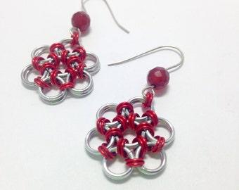 Red & Silver Flower Chain Earrings with Carnelian