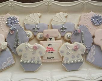 Paris Themed Baby Shower Sugar Cookies, Lavender Baby shower cookies, French Sugar Cookies, Paris Sugar Cookies