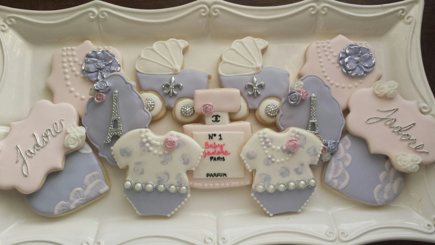 paris themed baby shower sugar cookies lavender baby shower
