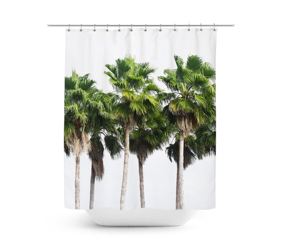 Sand Key Palms - Shower Curtain, Green Palm Trees Tropical Decor ...