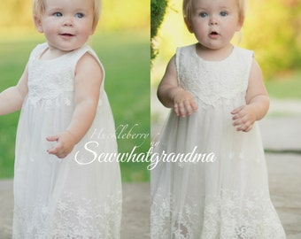 Off White Flower Girl Dress, Embroidered Cotton Gown, Baptism Girl Cotton Dress, Mid Calf Length, Tea Length, Boho  Beach Flower Girl, 2T-7T