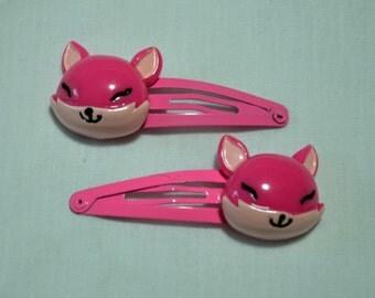 Pink Fox Hair Clips